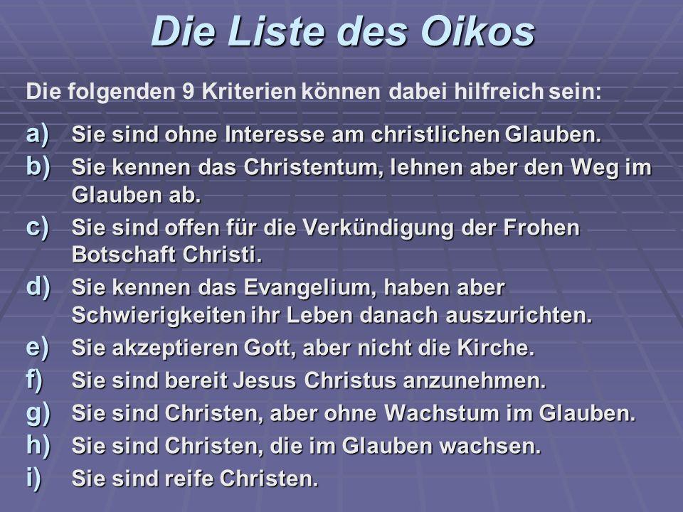 Die Liste des Oikos a) Sie sind ohne Interesse am christlichen Glauben. b) Sie kennen das Christentum, lehnen aber den Weg im Glauben ab. c) Sie sind