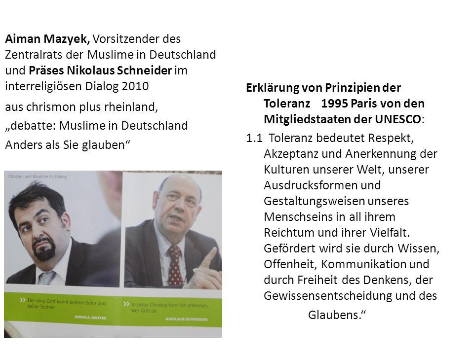 Aiman Mazyek, Vorsitzender des Zentralrats der Muslime in Deutschland und Präses Nikolaus Schneider im interreligiösen Dialog 2010 aus chrismon plus r