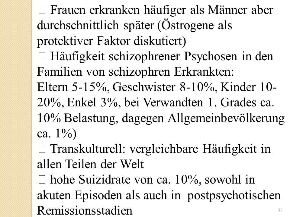 33 Frauen erkranken häufiger als Männer aber durchschnittlich später (Östrogene als protektiver Faktor diskutiert) Häufigkeit schizophrener Psychosen