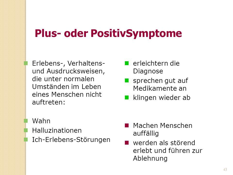 43 Plus- oder PositivSymptome erleichtern die Diagnose sprechen gut auf Medikamente an klingen wieder ab Machen Menschen auffällig werden als störend