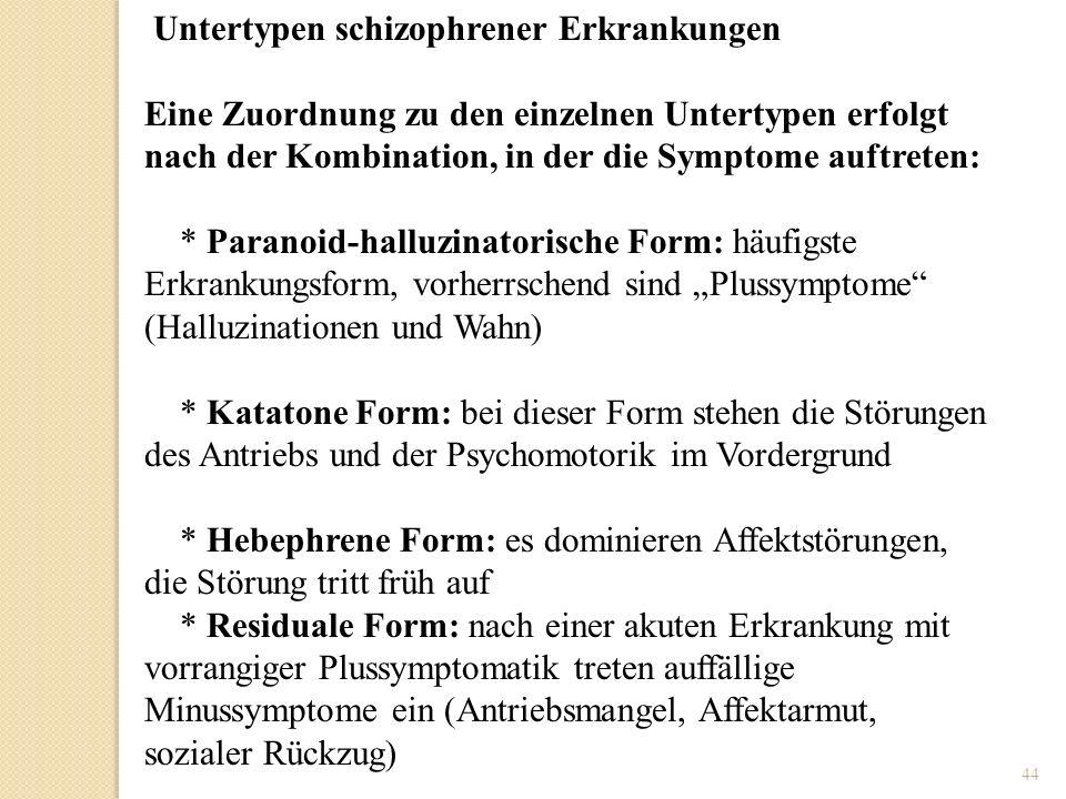 44 Untertypen schizophrener Erkrankungen Eine Zuordnung zu den einzelnen Untertypen erfolgt nach der Kombination, in der die Symptome auftreten: * Par