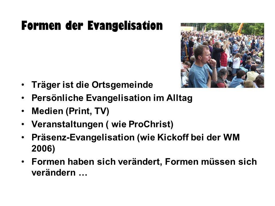 Formen der Evangelisation Träger ist die Ortsgemeinde Persönliche Evangelisation im Alltag Medien (Print, TV) Veranstaltungen ( wie ProChrist) Präsenz