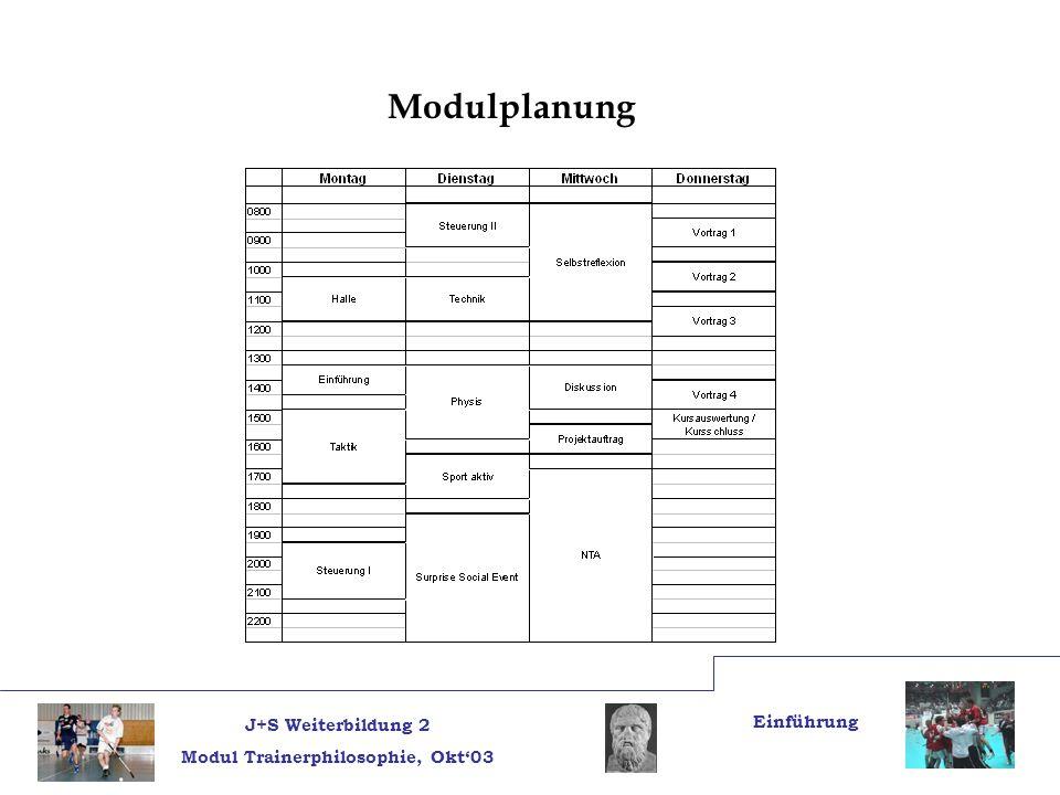 J+S Weiterbildung 2 Modul Trainerphilosophie, Okt03 Einführung Modulplanung