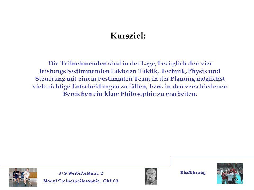 J+S Weiterbildung 2 Modul Trainerphilosophie, Okt03 Einführung Teilziele: 1.