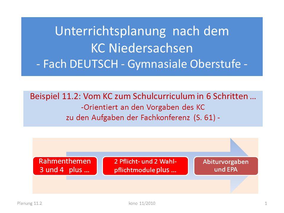 Unterrichtsplanung nach dem KC Niedersachsen - Fach DEUTSCH - Gymnasiale Oberstufe - Beispiel 11.2: Vom KC zum Schulcurriculum in 6 Schritten … -Orien