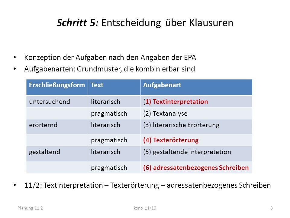 Schritt 5: Entscheidung über Klausuren Konzeption der Aufgaben nach den Angaben der EPA Aufgabenarten: Grundmuster, die kombinierbar sind 11/2: Textin