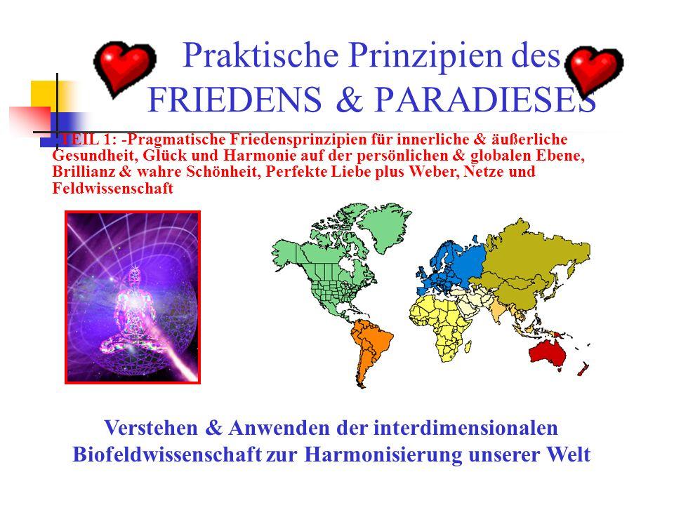 Praktische Prinzipien des FRIEDENS & PARADIESES Verstehen & Anwenden der interdimensionalen Biofeldwissenschaft zur Harmonisierung unserer Welt TEIL 1