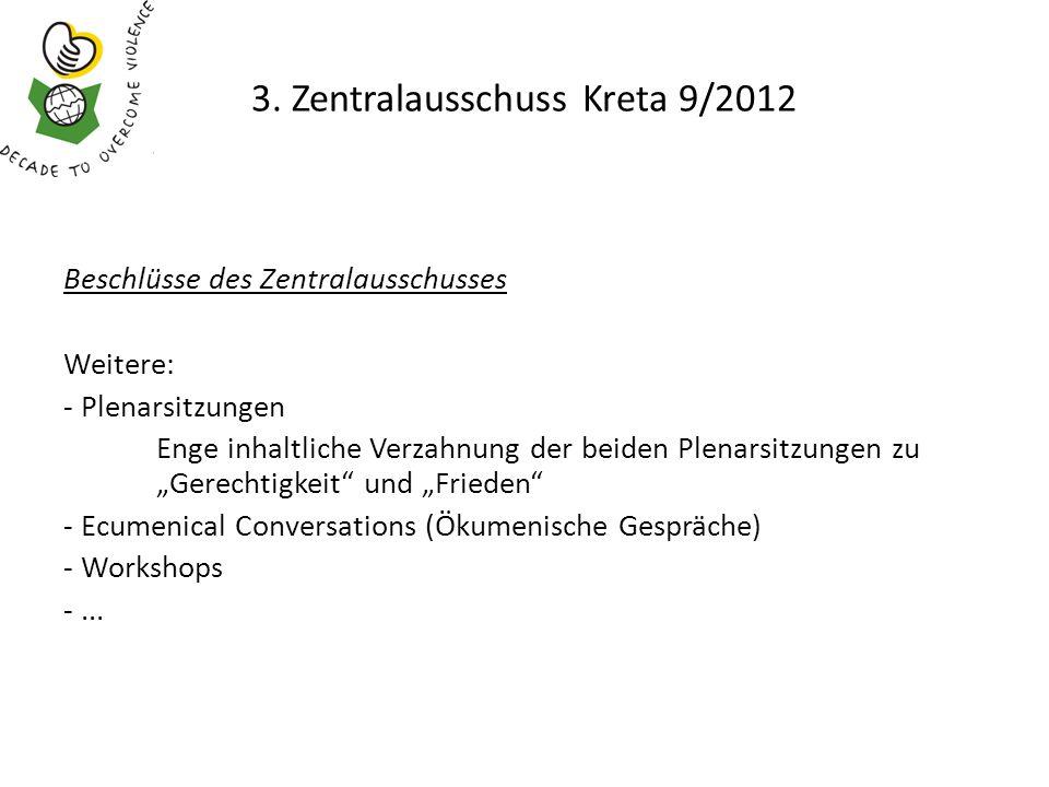 3. Zentralausschuss Kreta 9/2012 Beschlüsse des Zentralausschusses Weitere: - Plenarsitzungen Enge inhaltliche Verzahnung der beiden Plenarsitzungen z