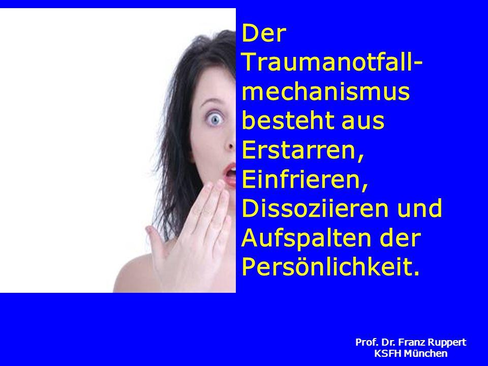 Prof. Dr. Franz Ruppert KSFH München Der Traumanotfall- mechanismus besteht aus Erstarren, Einfrieren, Dissoziieren und Aufspalten der Persönlichkeit.