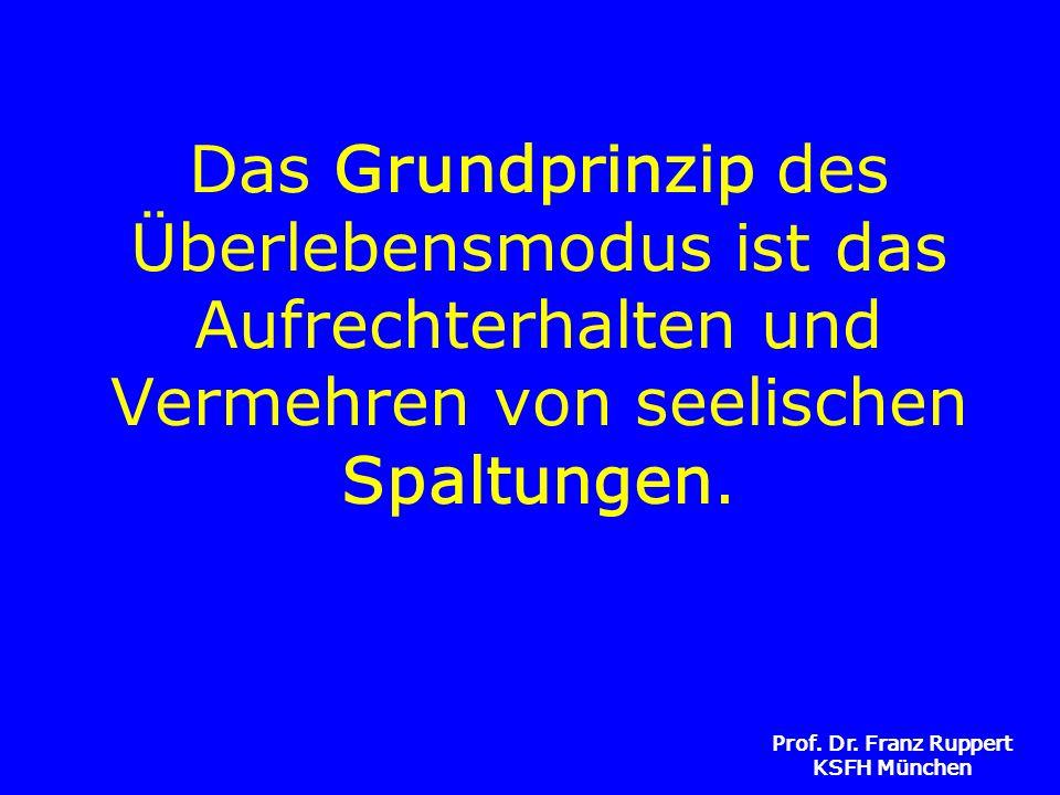Prof. Dr. Franz Ruppert KSFH München Das Grundprinzip des Überlebensmodus ist das Aufrechterhalten und Vermehren von seelischen Spaltungen.