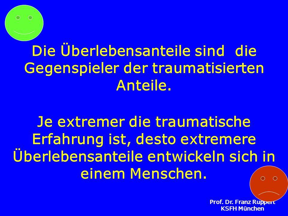 Prof. Dr. Franz Ruppert KSFH München Die Überlebensanteile sind die Gegenspieler der traumatisierten Anteile. Je extremer die traumatische Erfahrung i