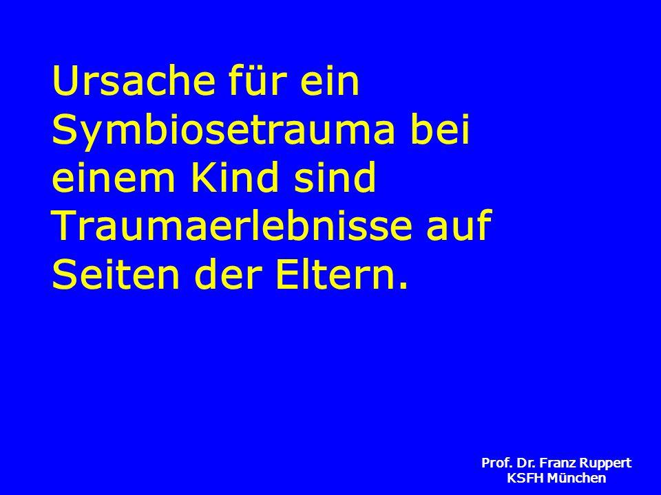 Prof. Dr. Franz Ruppert KSFH München Ursache für ein Symbiosetrauma bei einem Kind sind Traumaerlebnisse auf Seiten der Eltern.
