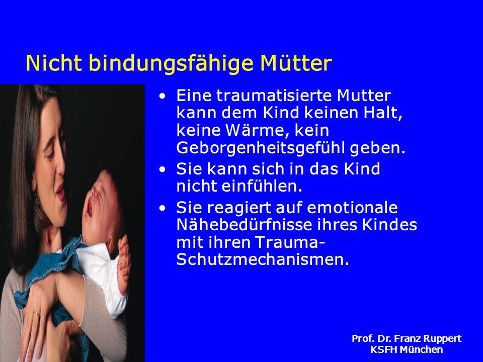 Prof. Dr. Franz Ruppert KSFH München Nicht bindungsfähige Mütter Eine traumatisierte Mutter kann dem Kind keinen Halt, keine Wärme, kein Geborgenheits
