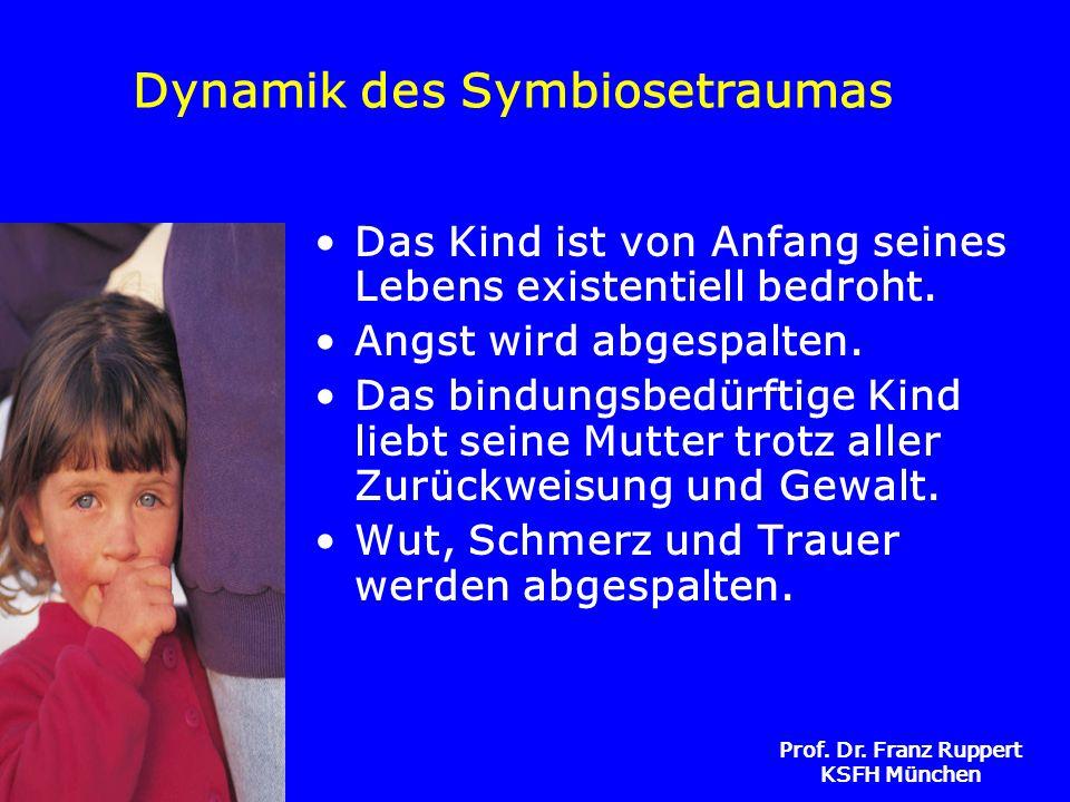 Prof. Dr. Franz Ruppert KSFH München Dynamik des Symbiosetraumas Das Kind ist von Anfang seines Lebens existentiell bedroht. Angst wird abgespalten. D