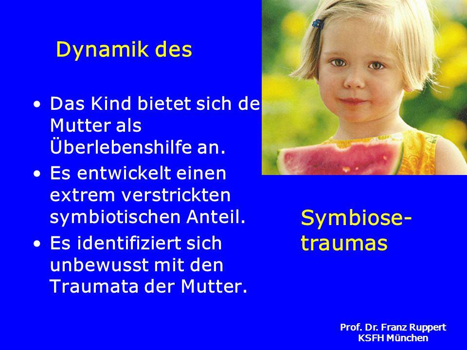 Prof. Dr. Franz Ruppert KSFH München Dynamik des Das Kind bietet sich der Mutter als Überlebenshilfe an. Es entwickelt einen extrem verstrickten symbi