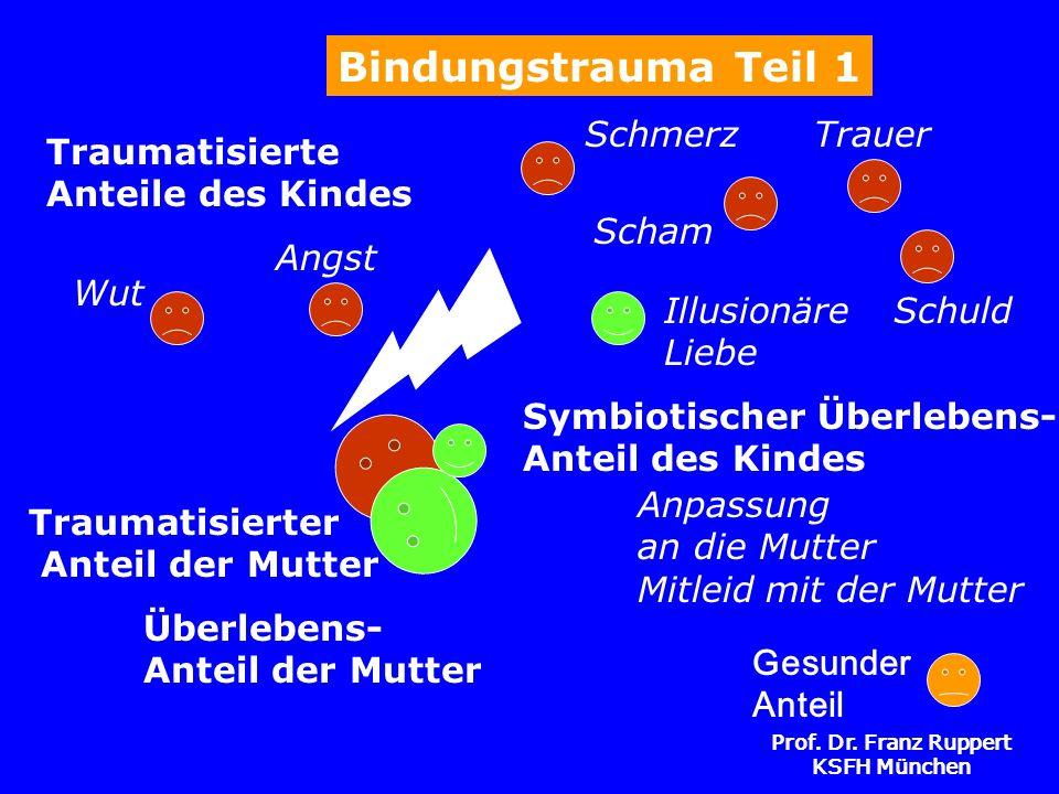 Prof. Dr. Franz Ruppert KSFH München Symbiotischer Überlebens- Anteil des Kindes Traumatisierte Anteile des Kindes Bindungstrauma Teil 1 Traumatisiert