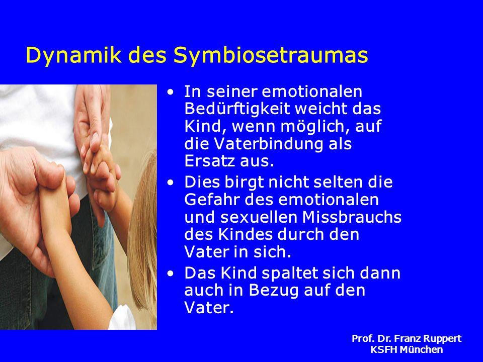 Prof. Dr. Franz Ruppert KSFH München Dynamik des Symbiosetraumas In seiner emotionalen Bedürftigkeit weicht das Kind, wenn möglich, auf die Vaterbindu