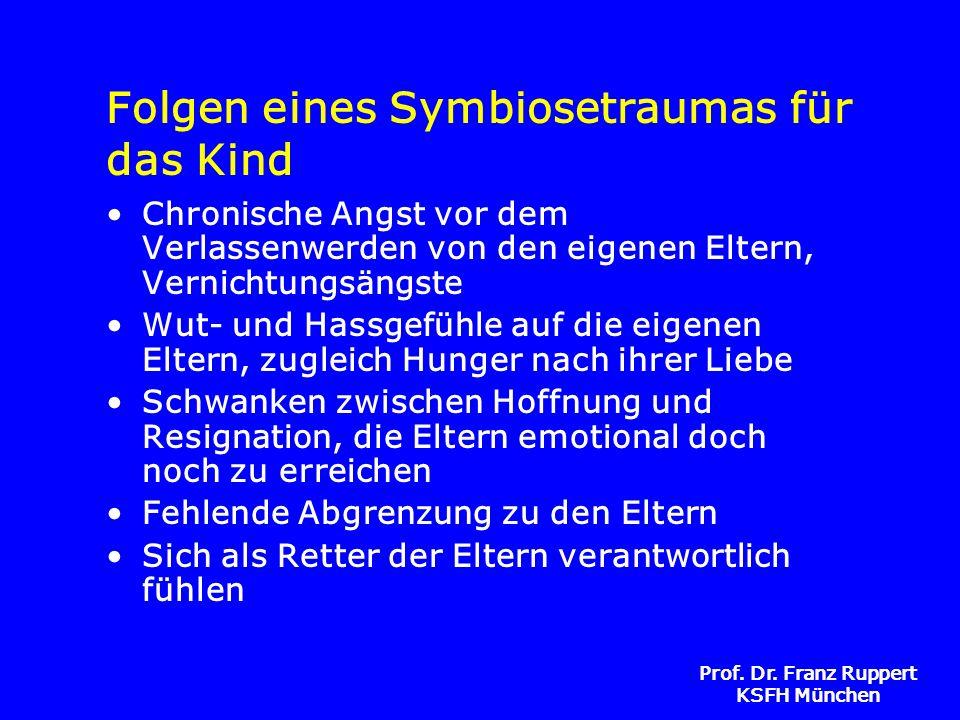 Prof. Dr. Franz Ruppert KSFH München Folgen eines Symbiosetraumas für das Kind Chronische Angst vor dem Verlassenwerden von den eigenen Eltern, Vernic