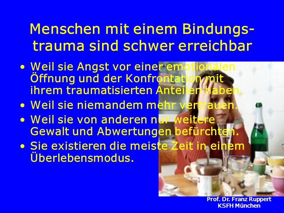 Prof. Dr. Franz Ruppert KSFH München Menschen mit einem Bindungs- trauma sind schwer erreichbar Weil sie Angst vor einer emotionalen Öffnung und der K