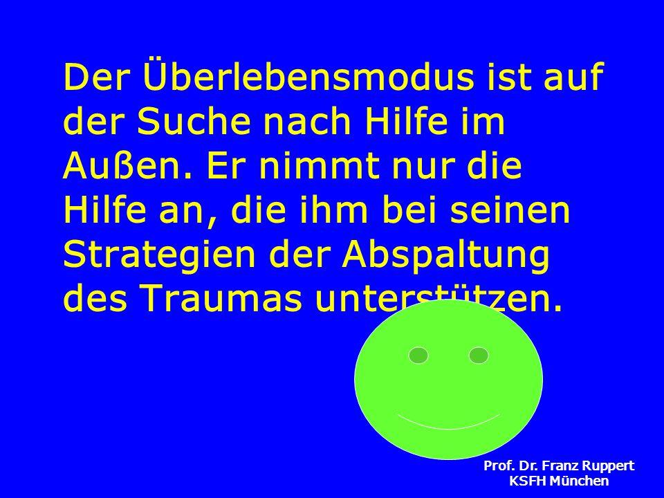 Prof. Dr. Franz Ruppert KSFH München Der Überlebensmodus ist auf der Suche nach Hilfe im Außen. Er nimmt nur die Hilfe an, die ihm bei seinen Strategi