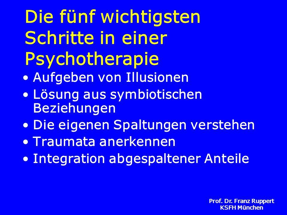 Prof. Dr. Franz Ruppert KSFH München Die fünf wichtigsten Schritte in einer Psychotherapie Aufgeben von Illusionen Lösung aus symbiotischen Beziehunge
