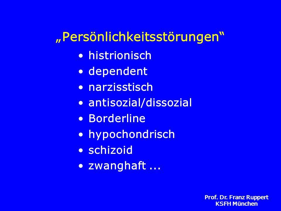 Prof. Dr. Franz Ruppert KSFH München Persönlichkeitsstörungen histrionisch dependent narzisstisch antisozial/dissozial Borderline hypochondrisch schiz