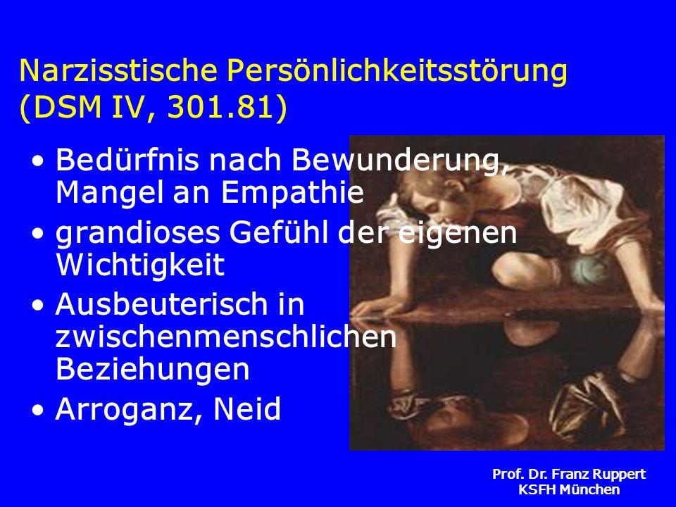 Prof. Dr. Franz Ruppert KSFH München Narzisstische Persönlichkeitsstörung (DSM IV, 301.81) Bedürfnis nach Bewunderung, Mangel an Empathie grandioses G