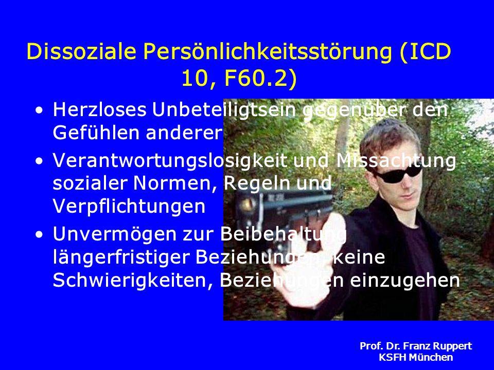 Prof. Dr. Franz Ruppert KSFH München Dissoziale Persönlichkeitsstörung (ICD 10, F60.2) Herzloses Unbeteiligtsein gegenüber den Gefühlen anderer Verant