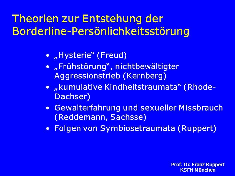 Prof. Dr. Franz Ruppert KSFH München Theorien zur Entstehung der Borderline-Persönlichkeitsstörung Hysterie (Freud) Frühstörung, nichtbewältigter Aggr