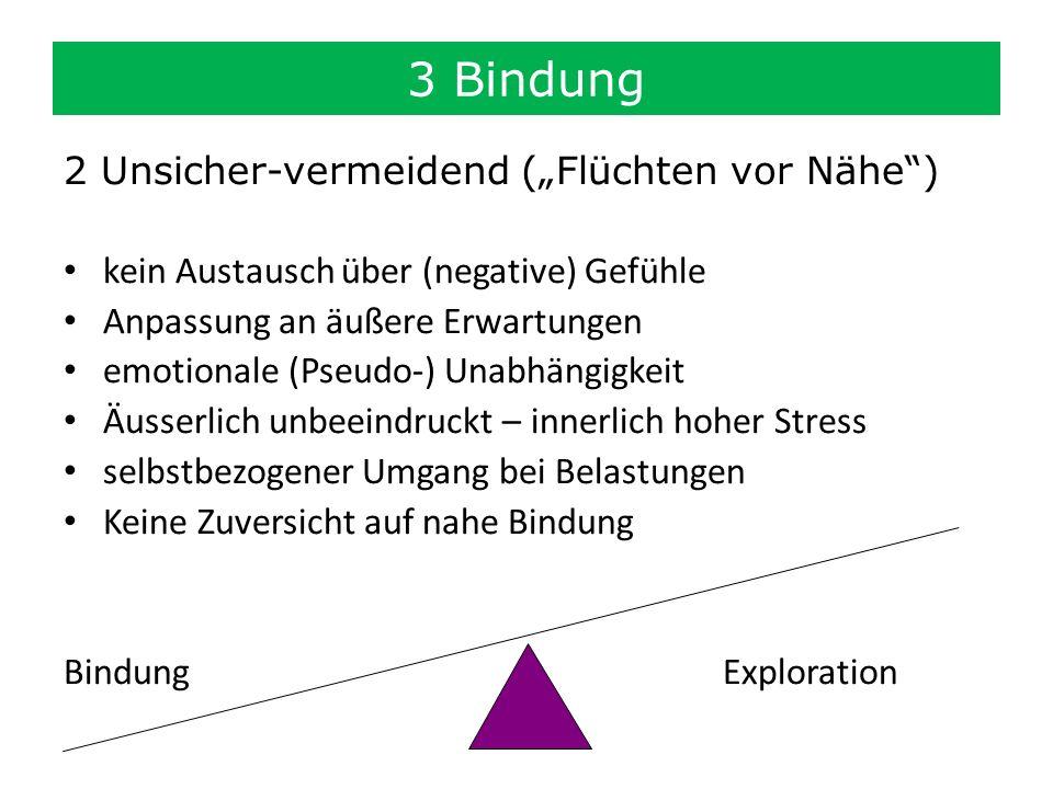 2 Unsicher-vermeidend (Flüchten vor Nähe) kein Austausch über (negative) Gefühle Anpassung an äußere Erwartungen emotionale (Pseudo-) Unabhängigkeit Ä