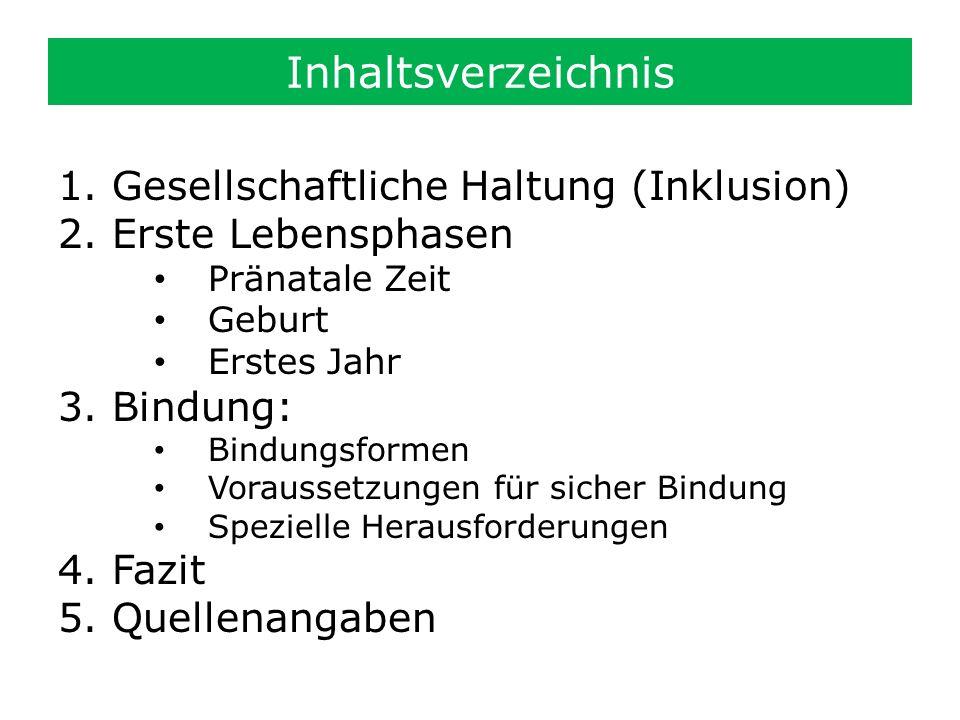 Inhaltsverzeichnis 1.Gesellschaftliche Haltung (Inklusion) 2.Erste Lebensphasen Pränatale Zeit Geburt Erstes Jahr 3.Bindung: Bindungsformen Voraussetz