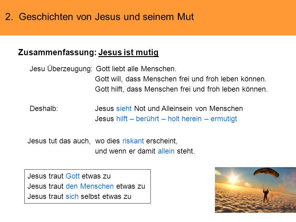 2. Geschichten von Jesus und seinem Mut Zusammenfassung: Jesus ist mutig Jesu Überzeugung: Gott liebt alle Menschen. Gott will, dass Menschen frei und