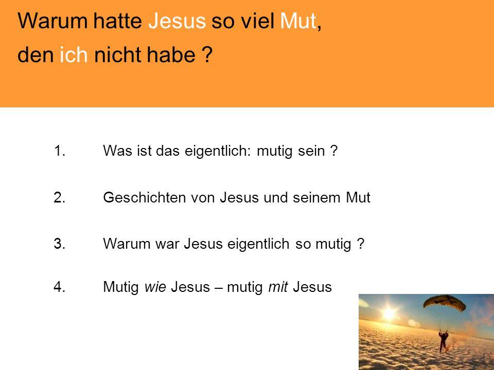 Warum hatte Jesus so viel Mut, den ich nicht habe ? 1.Was ist das eigentlich: mutig sein ? 2.Geschichten von Jesus und seinem Mut 3.Warum war Jesus ei
