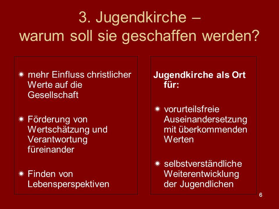 6 3. Jugendkirche – warum soll sie geschaffen werden.