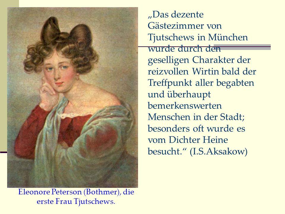 Das dezente Gästezimmer von Tjutschews in München wurde durch den geselligen Charakter der reizvollen Wirtin bald der Treffpunkt aller begabten und üb