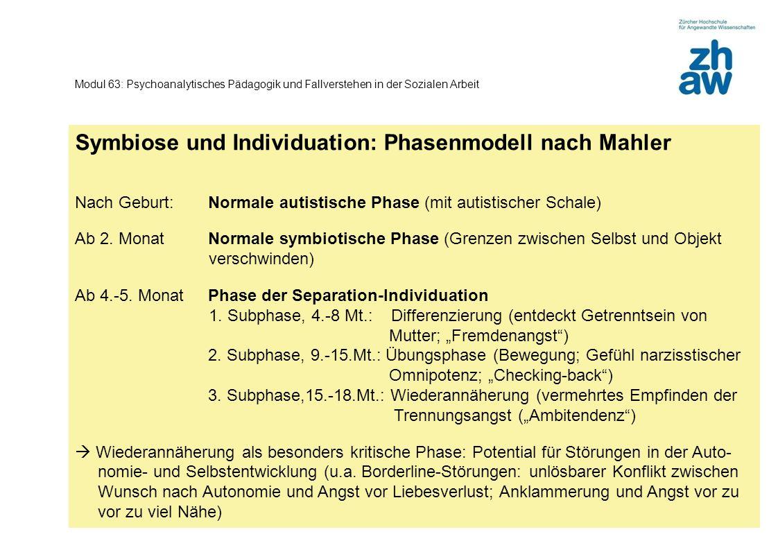 Zürcher Fachhochschule 3 Modul 63: Psychoanalytisches Pädagogik und Fallverstehen in der Sozialen Arbeit Symbiose und Individuation: Phasenmodell nach Mahler Nach Geburt:Normale autistische Phase (mit autistischer Schale) Ab 2.