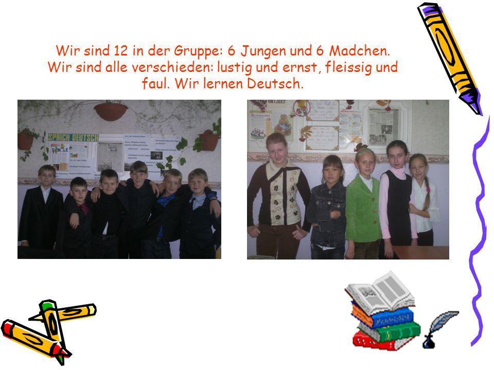 Wir sind 12 in der Gruppe: 6 Jungen und 6 Madchen. Wir sind alle verschieden: lustig und ernst, fleissig und faul. Wir lernen Deutsch.