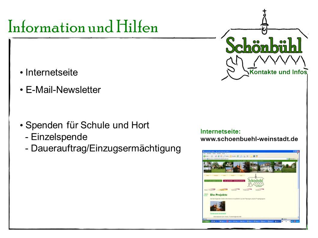 Information und Hilfen Kontakte und Infos Internetseite: www.schoenbuehl-weinstadt.de Internetseite E-Mail-Newsletter Spenden für Schule und Hort - Ei