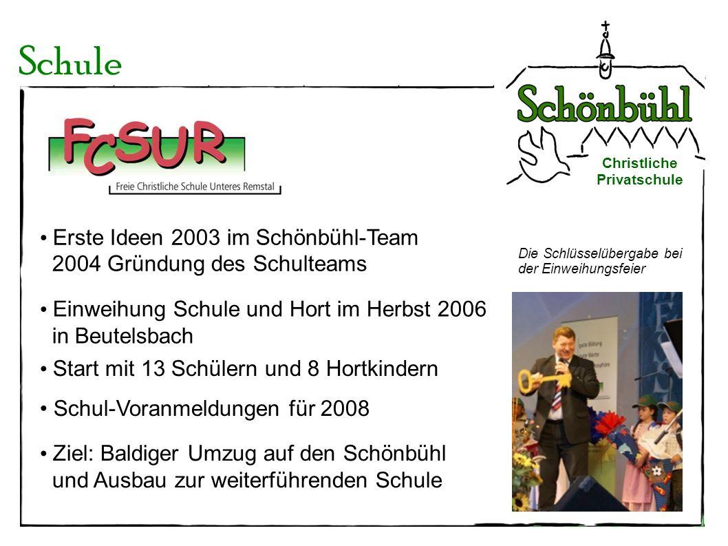 Die Schlüsselübergabe bei der Einweihungsfeier Schule Christliche Privatschule Erste Ideen 2003 im Schönbühl-Team 2004 Gründung des Schulteams Start m