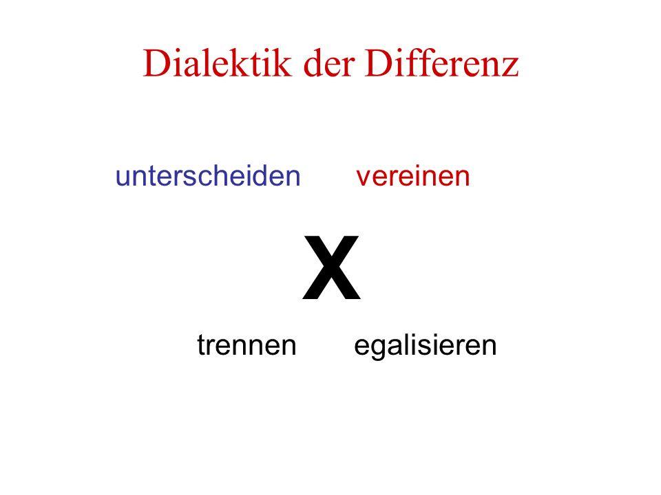 Dialektik der Differenz unterscheiden vereinen X trennen egalisieren