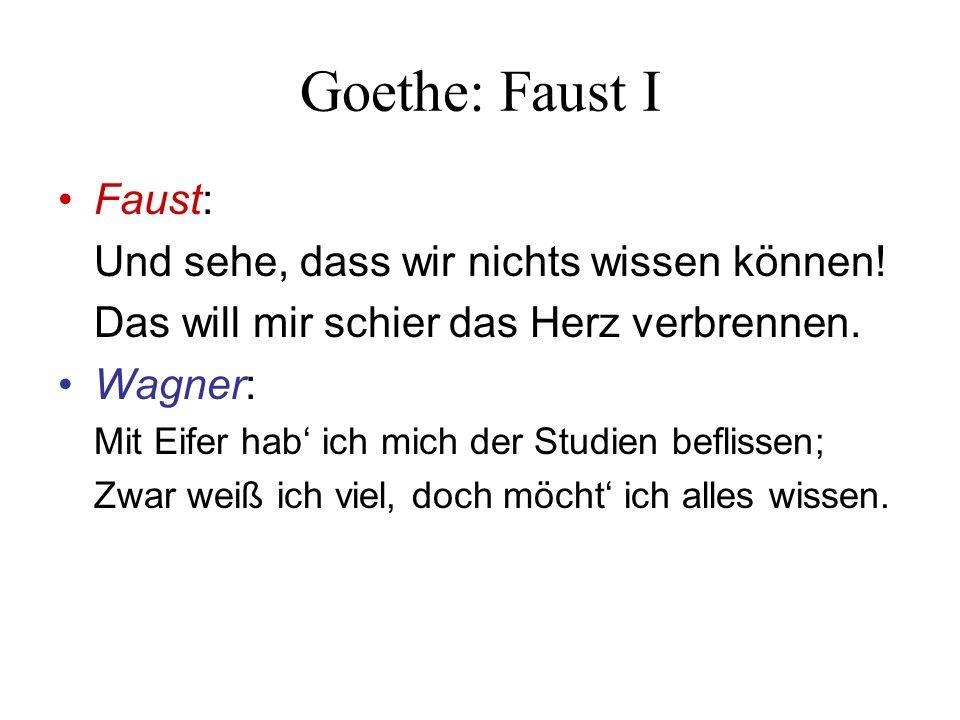 Goethe: Faust I Faust: Und sehe, dass wir nichts wissen können.
