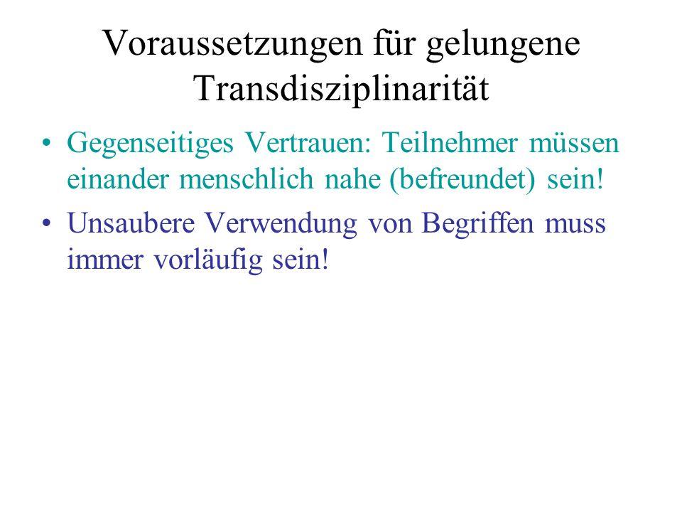 Voraussetzungen für gelungene Transdisziplinarität Gegenseitiges Vertrauen: Teilnehmer müssen einander menschlich nahe (befreundet) sein.