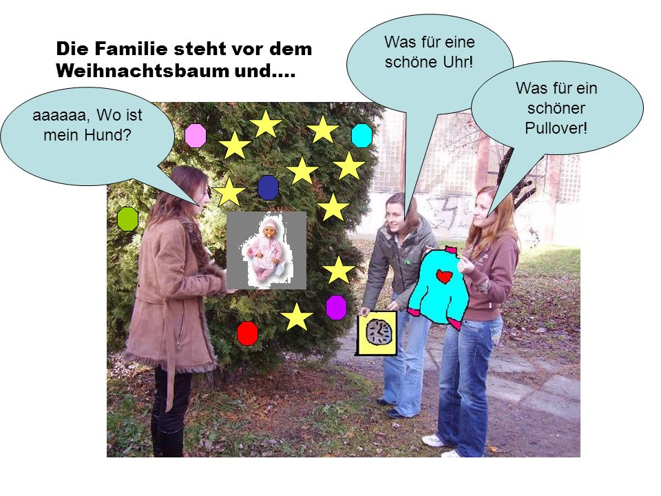 Die Familie steht vor dem Weihnachtsbaum und.... aaaaaa, Wo ist mein Hund? Was für eine schöne Uhr! Was für ein schöner Pullover!