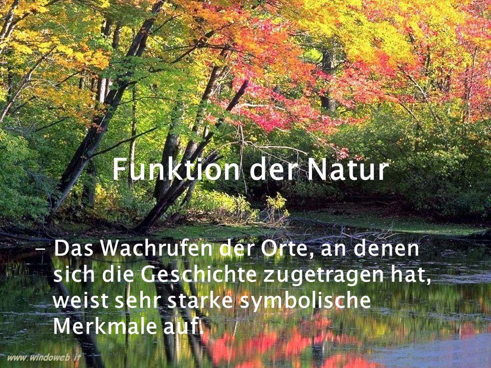 Funktion der Natur - Das Wachrufen der Orte, an denen sich die Geschichte zugetragen hat, weist sehr starke symbolische Merkmale auf.
