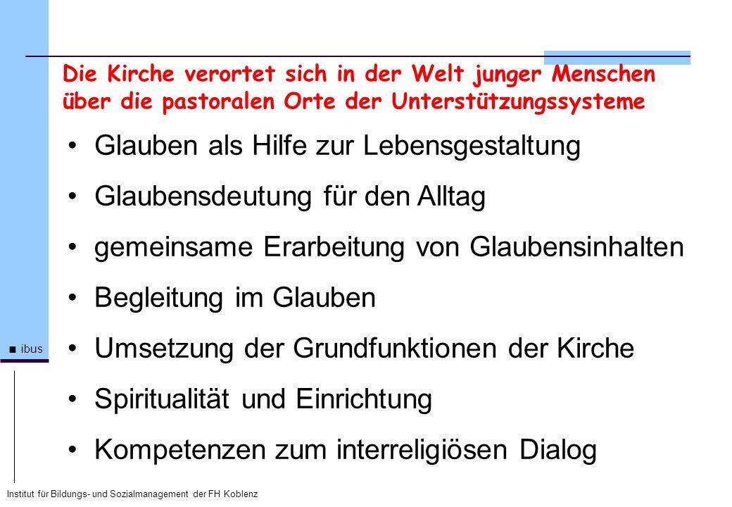 Institut für Bildungs- und Sozialmanagement der FH Koblenz ibus Glauben als Hilfe zur Lebensgestaltung Glaubensdeutung für den Alltag gemeinsame Erarb