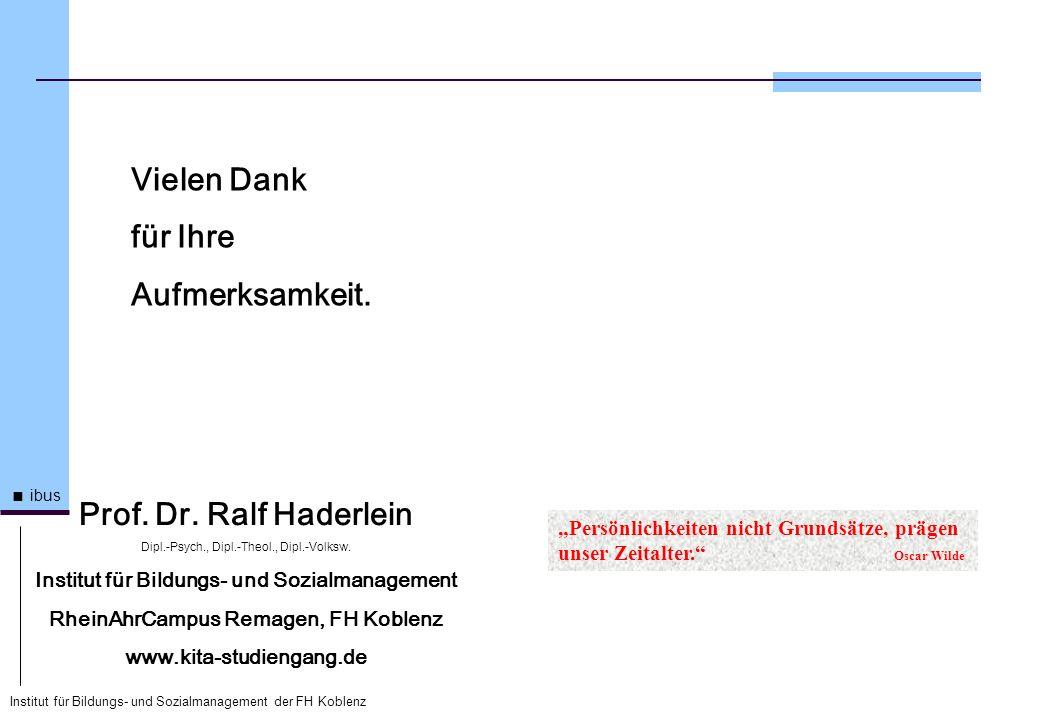 Institut für Bildungs- und Sozialmanagement der FH Koblenz ibus Vielen Dank für Ihre Aufmerksamkeit. Prof. Dr. Ralf Haderlein Dipl.-Psych., Dipl.-Theo