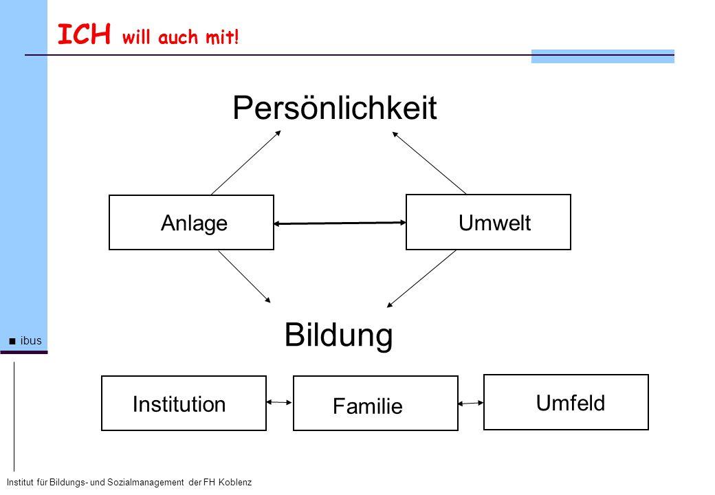 Institut für Bildungs- und Sozialmanagement der FH Koblenz ibus ICH will auch mit! Persönlichkeit Anlage Umwelt Bildung Institution Familie Umfeld