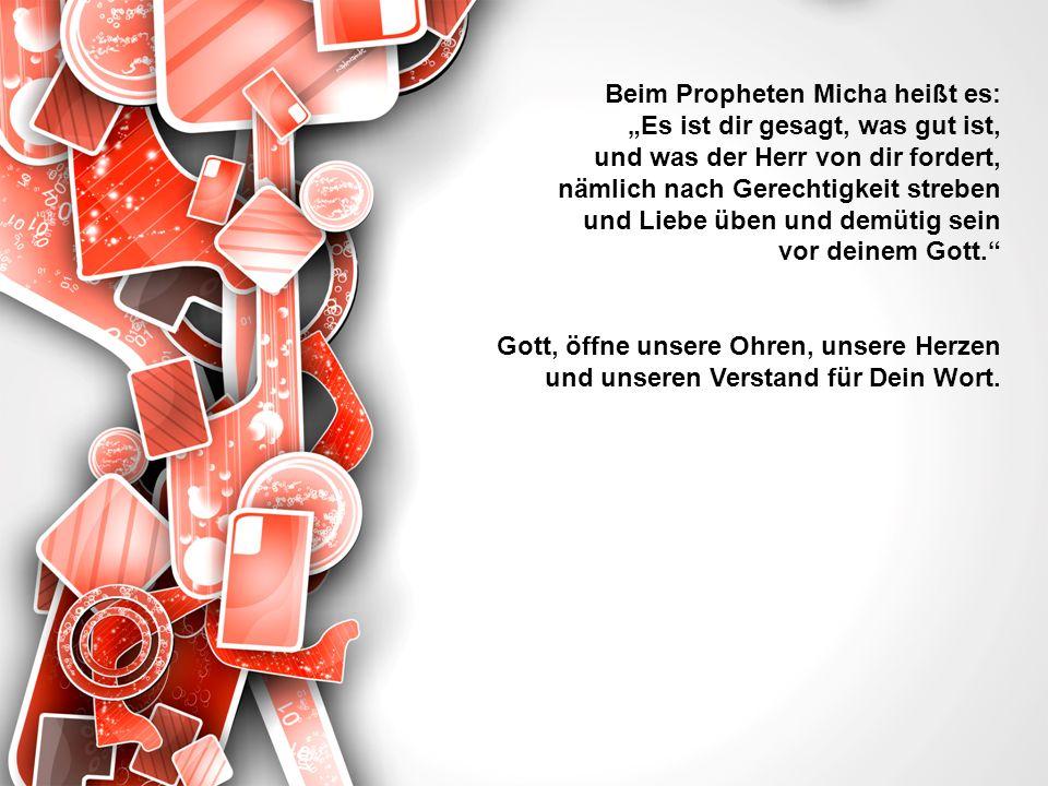 Beim Propheten Micha heißt es: Es ist dir gesagt, was gut ist, und was der Herr von dir fordert, nämlich nach Gerechtigkeit streben und Liebe üben und