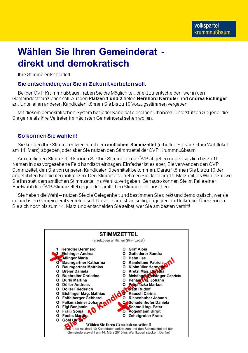 Termine Mehr Infos auf: www.krummnussbaum.jvpnoe.at Impressum: Medieninhaber und Herausgeber: ÖVP Krummnußbaum, Bernhard Kerndler, 3375 Krummnußbaum, Hauptstraße 10, E-Mail: so021107@fhstp.ac.at, Herstellung: eigene Vervielfältigung www.krummnussbaum.vpnoe.at Ab 4.