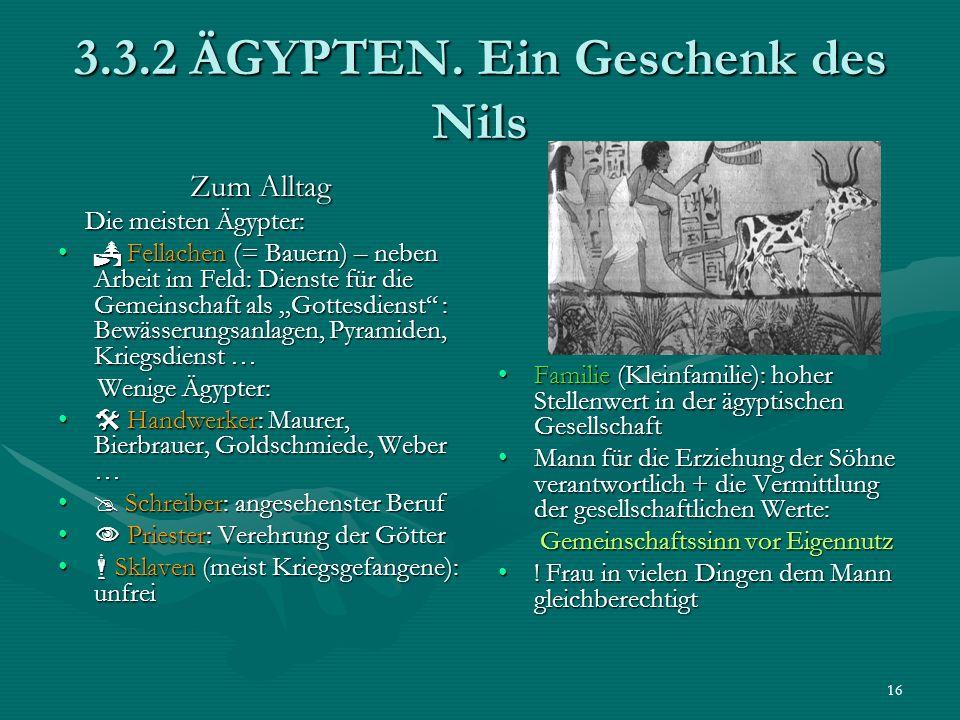 16 3.3.2 ÄGYPTEN. Ein Geschenk des Nils Zum Alltag Die meisten Ägypter: Die meisten Ägypter: Fellachen (= Bauern) – neben Arbeit im Feld: Dienste für
